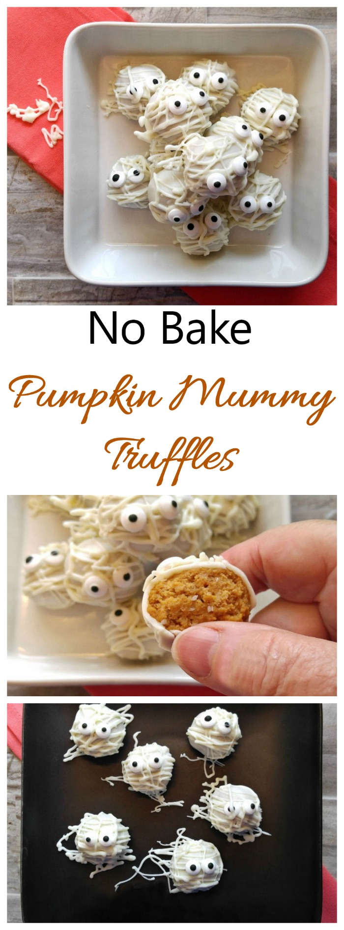 Mummy Truffles - Pumpkin Spice Cheesecake Truffles - Halloween Treat