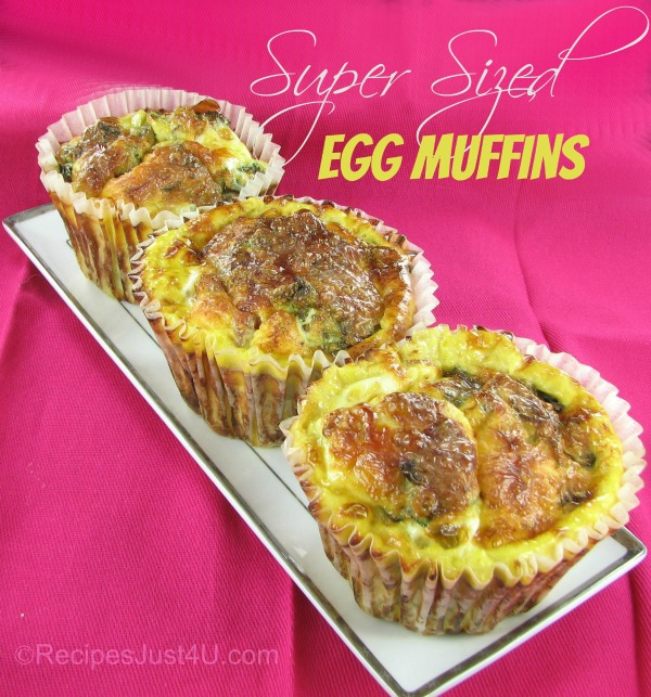 Supersize Egg Muffins with Broccoli Spinach and Cheddar cheese