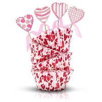 Valentine's Day Baking Cups and Toppers - Valentine's Day Party Decoration – Heart Cupcake Liners for Wedding Birthday Mother's Day Party Supplies Gift Giving