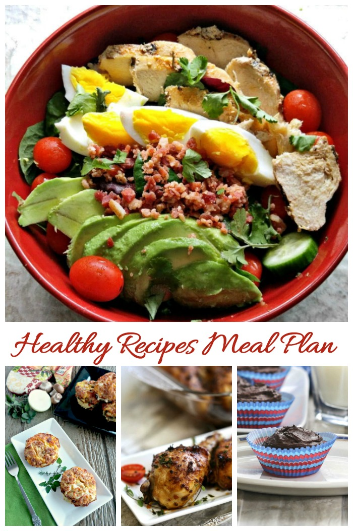 This group of healthy recipes will keep you full and make sticking to a diet very easy. The meal plan includes breakfast, lunch, dinner and dessert ideas.