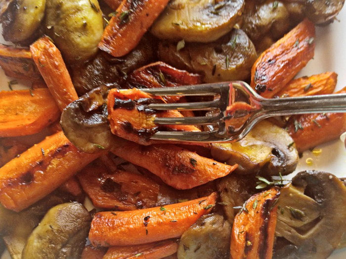 eating oven roasted vegetables