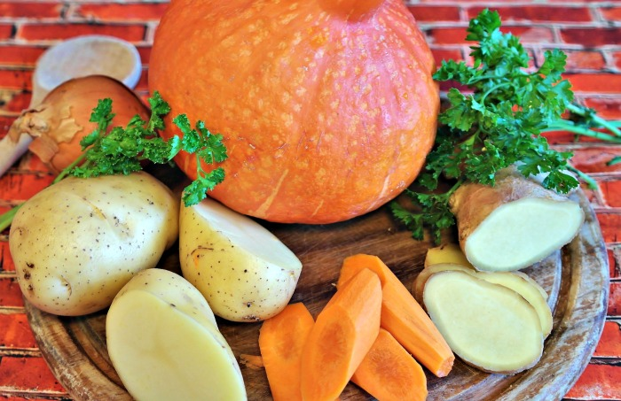 pumpkin, carrots and potatoes can be roasted together