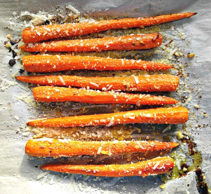 Use Parmesan cheese for oven roasted vegetables like these carrots