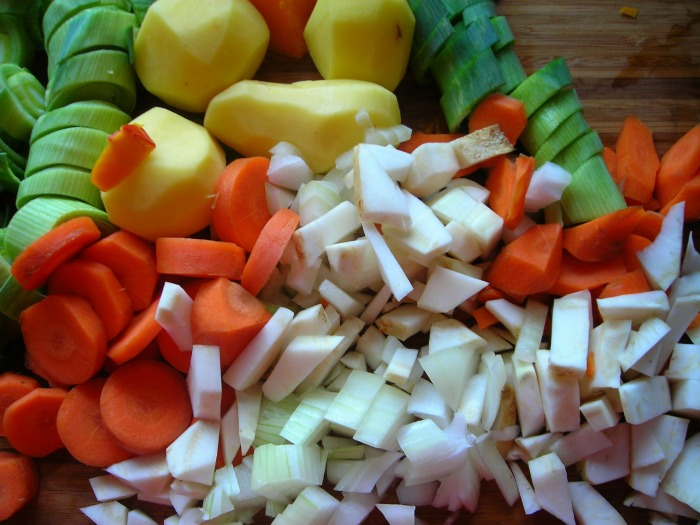 cut vegetables into even pieces for roasting