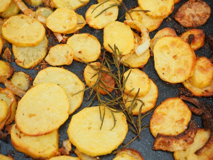 roasted potatoes and herbs