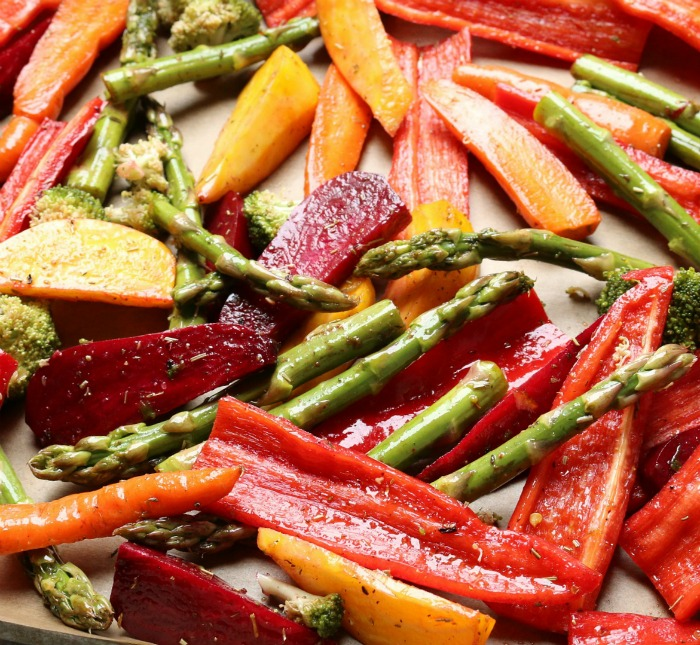 Roasted peppers and asparagus