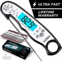Kizen Instant Read Meat Thermometer - Best Waterproof Ultra Fast Thermometer with Backlight & Calibration.