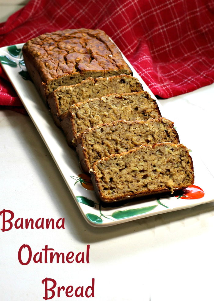 Banana oatmeal bread on a plate