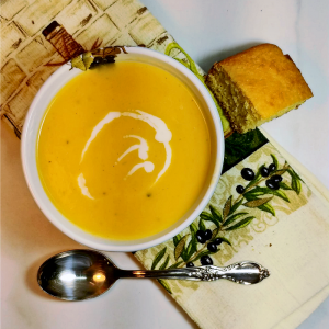 Creamy vegan leek and squash soup