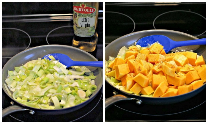 cooking leeks and squash