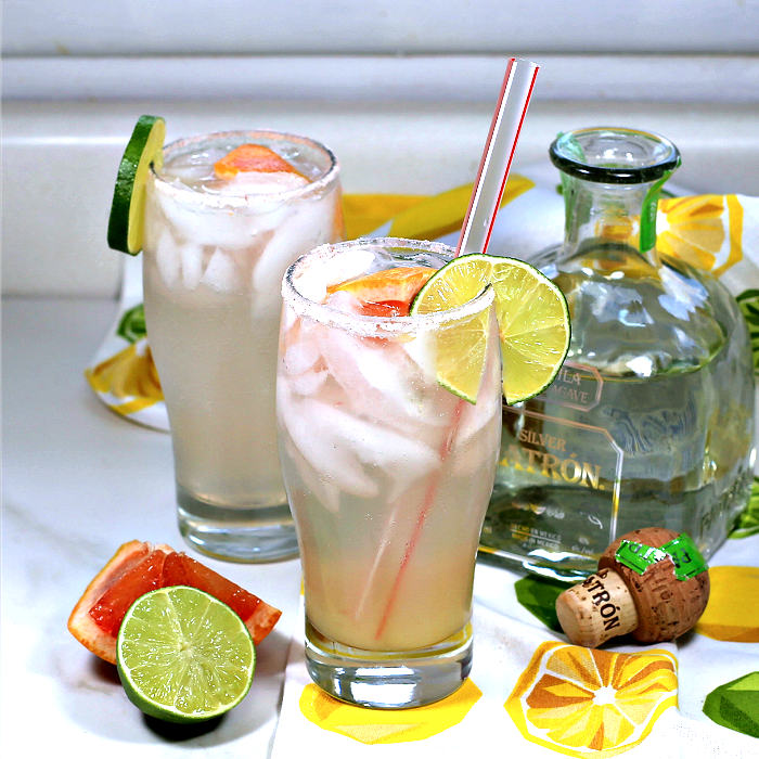 Paloma highball with tequila bottle