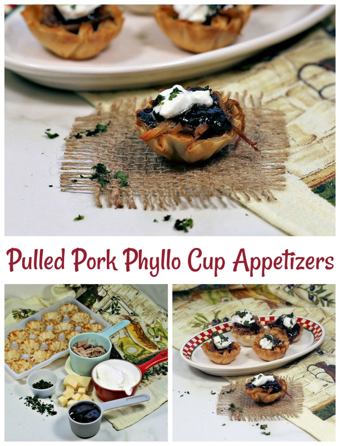 Pulled pork phyllo cup appetizers. Ready in just minutes and super tasty.