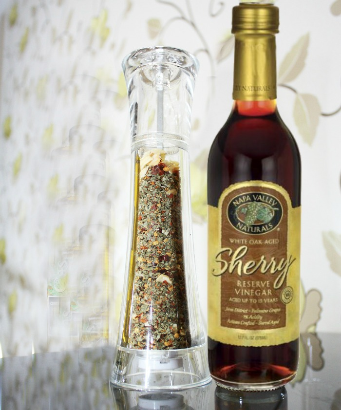 Sherry vinegar and pepper grinder