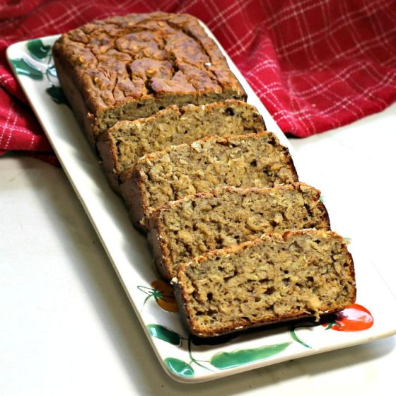 Moist banana bread will keep for a week in the fridge