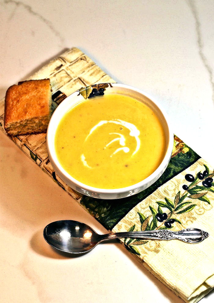 Butternut squash Vegan soup with leeks and coconut milk