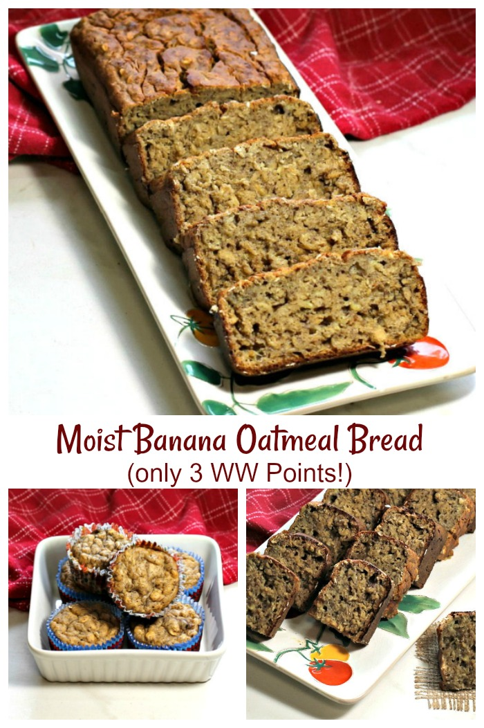 This Weight Watchers Banana bread has only 3 Freestyle points a serving and just 2 for the muffins!