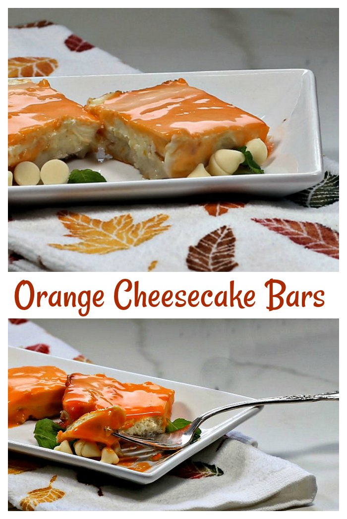 Orange Cheese cake bars are the perfect sweet treat to finish off any dinner party meal.