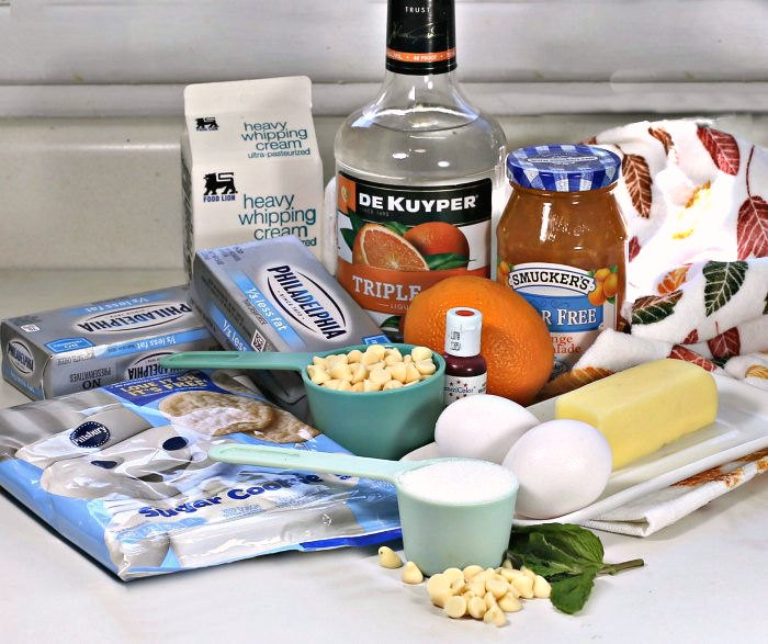 Ingredients for orange cheesecake bars recipe
