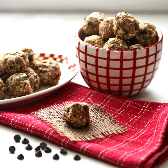 Coconut, chocolate and peanut butter energy bites.