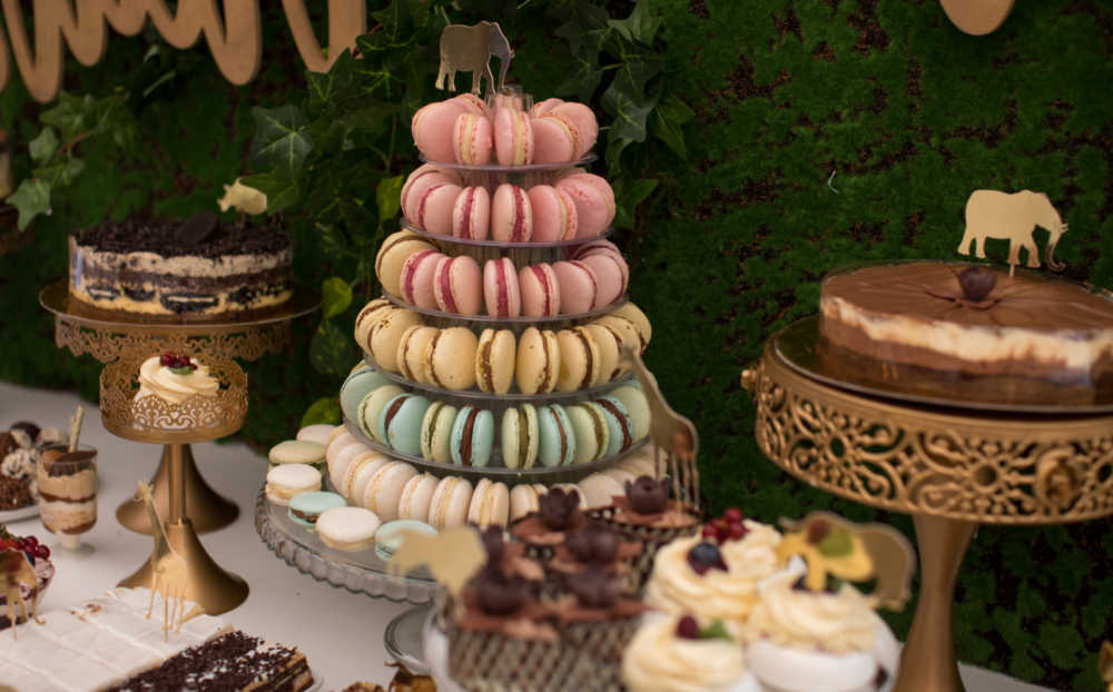 Tower of macarons on a party table.